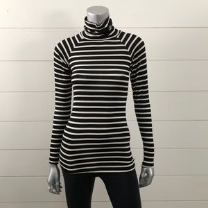 Zara Basic T-shirt black stripe thin turtleneck